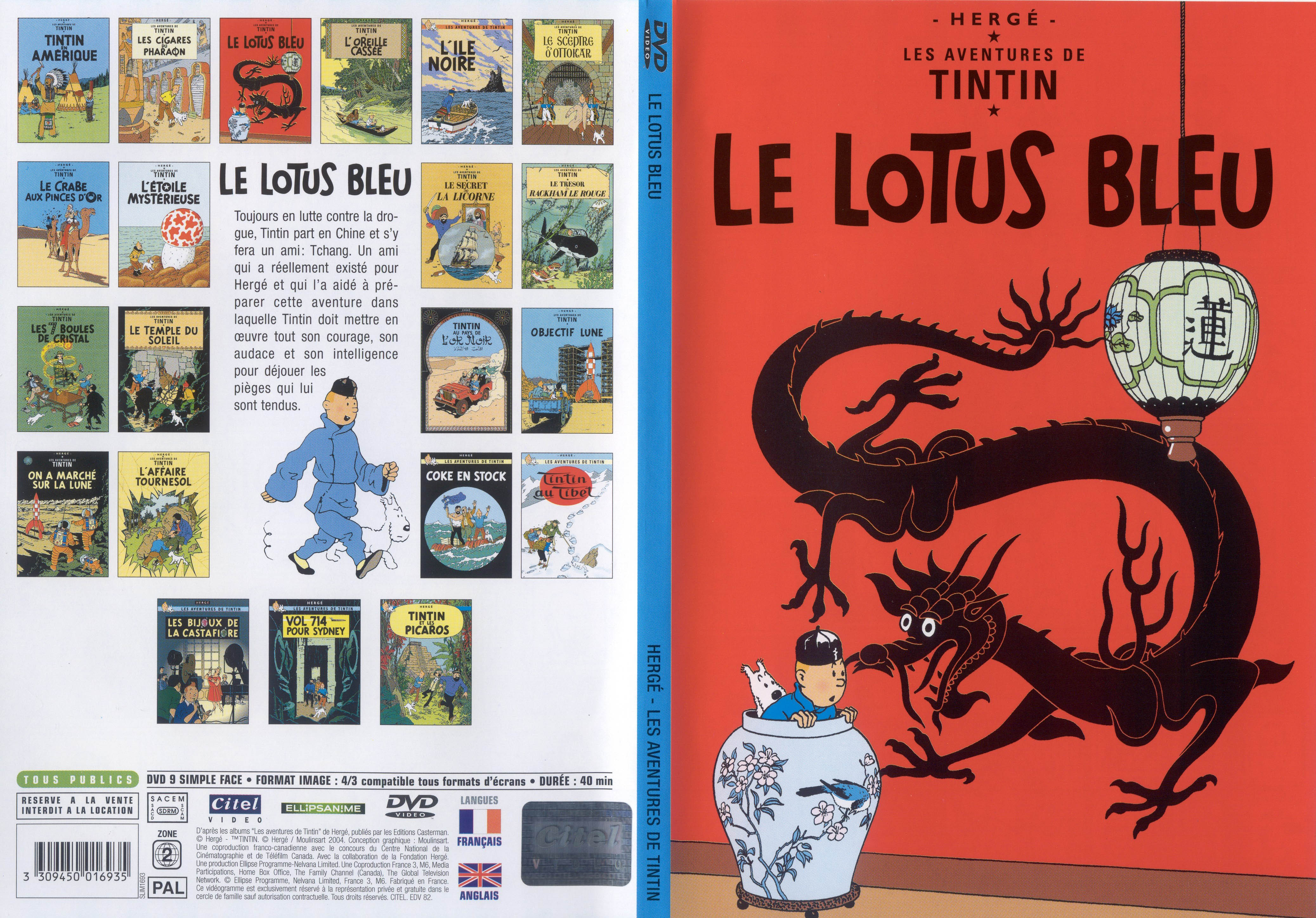 Jaquette DVD Tintin - Le lotus bleu